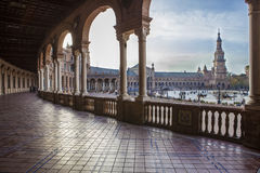 Πλατεία της Ισπανίας, Plaza de Espana, Σεβίλη, Ισπανία Άποψη από το μέρος Στοκ Φωτογραφίες