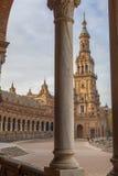 Πλατεία της Ισπανίας, Plaza de Espana, Σεβίλη, Ισπανία Άποψη από το μέρος Στοκ Εικόνες