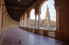 Πλατεία της Ισπανίας, Plaza de Espana, Σεβίλη, Ισπανία Άποψη από το μέρος Στοκ φωτογραφία με δικαίωμα ελεύθερης χρήσης
