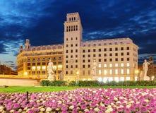 Πλατεία της Καταλωνίας τη νύχτα Βαρκελώνη, Ισπανία, καμία Στοκ Φωτογραφίες