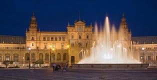 Πλατεία της Σεβίλης - Plaza de Espana που σχεδιάζεται από Anibnal Gonzalez (η δεκαετία του '20) στο Art Deco και το νεω-Mudejar ύ Στοκ Εικόνες