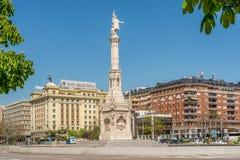 Πλατεία του Columbus με το μνημείο στο Christopher Columbus Στοκ Εικόνες