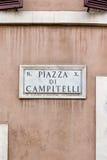 Πλατεία Campitelli σημάτων στη Ρώμη Στοκ φωτογραφίες με δικαίωμα ελεύθερης χρήσης