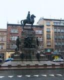 Πλατεία Matejki μνημείων Grunwald τον Ιανουάριο στην Κρακοβία Στοκ εικόνες με δικαίωμα ελεύθερης χρήσης