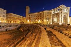 Πλατεία Santo Oronzo και Romano Anfiteatro σε Lecce Στοκ Εικόνα
