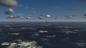 Πλατφόρμα άντλησης πετρελαίου, πτήση πέρα από τον ωκεανό, μήκος σε πόδηα αποθεμάτων απεικόνιση αποθεμάτων
