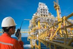 Πλατφόρμα αερίου ή πλατφόρμα εγκαταστάσεων γεώτρησης Στοκ εικόνα με δικαίωμα ελεύθερης χρήσης