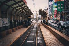 Πλατφόρμα τραμ σε Sapporo Στοκ Εικόνες