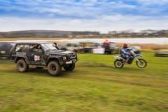 Πλαϊνές οχήματα και μοτοσικλέτα στοκ εικόνα