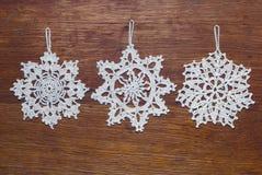 πλεγμένα snowflakes Στοκ φωτογραφία με δικαίωμα ελεύθερης χρήσης