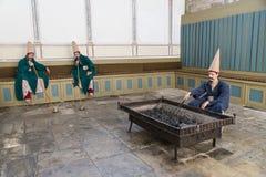 Πλεγμένες φρουρές (Zuluflu Baltacilar), παλάτι Topkapi, Ιστανμπούλ, Τουρκία Στοκ Φωτογραφίες