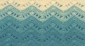 Πλεγμένο πολύχρωμο ύφασμα βαμβακιού στα μπλε χρώματα Ριγωτό wav Στοκ φωτογραφία με δικαίωμα ελεύθερης χρήσης