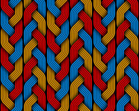 Πλεγμένο χρωματισμένο άνευ ραφής σχέδιο ινών πλεξίδων επίσης corel σύρετε το διάνυσμα απεικόνισης Στοκ Φωτογραφία