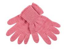 Πλεκτά μάλλινα γάντια μωρών Στοκ Φωτογραφία