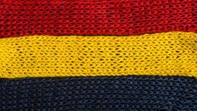 Πλεκτά τεμάχια των χρωμάτων σημαιών: κόκκινος, μπλε, κίτρινος Στοκ φωτογραφίες με δικαίωμα ελεύθερης χρήσης