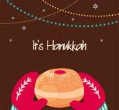 Πλεκτά τρύγος γάντια που κρατούν doughnut Hanukkah Στοκ εικόνες με δικαίωμα ελεύθερης χρήσης