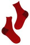 Πλεκτές κόκκινες κάλτσες Στοκ Εικόνες