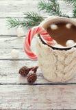 Πλεκτή κούπα του καφέ Στοκ εικόνα με δικαίωμα ελεύθερης χρήσης