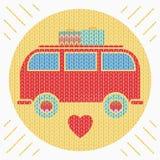 Πλεκτό ζωηρόχρωμο εκλεκτής ποιότητας φορτηγό χίπηδων Στοκ Εικόνες