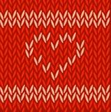 Πλεκτό διανυσματικό άνευ ραφής κόκκινο σχέδιο Στοκ Φωτογραφίες