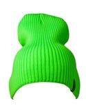 Πλεκτό καπέλο που απομονώνεται στο άσπρο υπόβαθρο ανοικτό πράσινο καπέλο Στοκ εικόνα με δικαίωμα ελεύθερης χρήσης