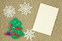 Πλεκτό νήμα ύφασμα γιούτας Snowflakes, χριστουγεννιάτικο δέντρο Στοκ Φωτογραφίες