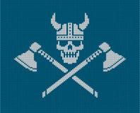 Πλεκτό λογότυπο - κρανίο Βίκινγκ διανυσματική απεικόνιση