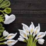 Πλεκτό πράσινο φύλλο και άσπρο υπόβαθρο λουλουδιών Στοκ εικόνα με δικαίωμα ελεύθερης χρήσης