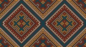 Πλεκτό σχέδιο μαλλιού στο φυλετικό των Αζτέκων ύφος Άνευ ραφής ανασκόπηση Στοκ εικόνα με δικαίωμα ελεύθερης χρήσης