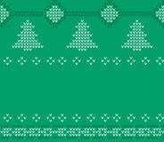 Πλεκτό σχέδιο πουλόβερ Χριστουγέννων, πράσινο knitwear Στοκ Εικόνα