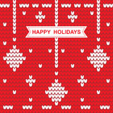 Πλεκτό σχέδιο Χριστουγέννων με τις λέξεις καλές διακοπές στο κόκκινο Στοκ Εικόνα