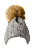 Πλεκτό το s καπέλο γυναικών ` που απομονώνεται στο άσπρο υπόβαθρο καπέλο με το pompo Στοκ φωτογραφίες με δικαίωμα ελεύθερης χρήσης