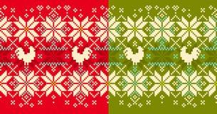 Πλεκτό χειμώνας cockerel άνευ ραφής σχέδιο διανυσματική απεικόνιση