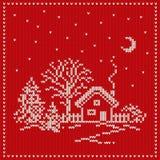 Πλεκτό Χριστούγεννα υπόβαθρο πρότυπο άνευ ραφής Στοκ Εικόνες