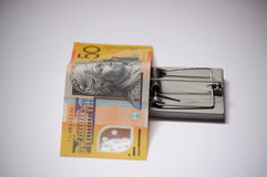 Πλεονεξία και οικονομικά αυστραλιανά πενήντα δολάρια παγίδων πειρασμού στοκ εικόνα