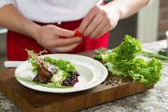 Πλευρά αρνιών με τα λαχανικά και καρύκευμα στο ξύλινο υπόβαθρο Στοκ Εικόνες