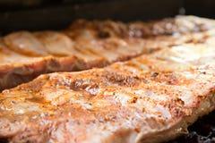 Πλευρά σχαρών που μαγειρεύουν στη σχάρα Στοκ εικόνες με δικαίωμα ελεύθερης χρήσης