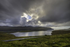 Πλευρά χωρών λιμνών (Eidisvatn), Νήσοι Φαρόι, Δανία, Ευρώπη Στοκ φωτογραφία με δικαίωμα ελεύθερης χρήσης
