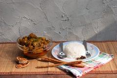 Πλευρό και ρύζι χοιρινού κρέατος με το πικάντικο κάρρυ Στοκ φωτογραφία με δικαίωμα ελεύθερης χρήσης