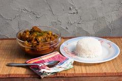 Πλευρό και ρύζι χοιρινού κρέατος με το πικάντικο κάρρυ Στοκ εικόνα με δικαίωμα ελεύθερης χρήσης