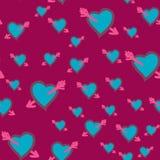 Πληγωμένη καρδιά Ημέρα βαλεντίνων, άνευ ραφής τρύγος καρδιών γαμήλιου σχεδίου Διάνυσμα σχεδίων χεριών doodle Αγάπη, ρομαντικό ντε απεικόνιση αποθεμάτων