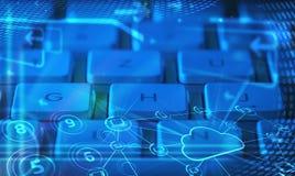 Πληκτρολόγιο με τα καμμένος εικονίδια τεχνολογίας σύννεφων Στοκ Εικόνες