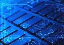 Πληκτρολόγιο με τα καμμένος εικονίδια τεχνολογίας σύννεφων Στοκ Φωτογραφία