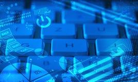 Πληκτρολόγιο με τα καμμένος διαγράμματα Στοκ εικόνες με δικαίωμα ελεύθερης χρήσης