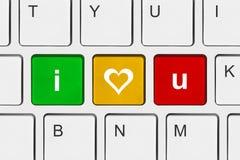 Πληκτρολόγιο υπολογιστών με σ' αγαπώ τα κλειδιά Στοκ Φωτογραφία