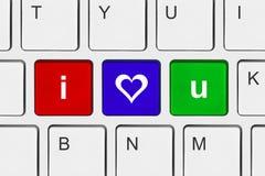 Πληκτρολόγιο υπολογιστών με σ' αγαπώ τα κλειδιά Στοκ εικόνες με δικαίωμα ελεύθερης χρήσης
