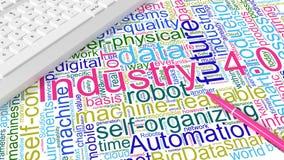 Πληκτρολόγιο υπολογιστών με τη βιομηχανία 4 λέξεις κλειδιά wordcloud ελεύθερη απεικόνιση δικαιώματος