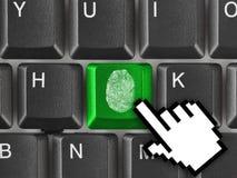 Πληκτρολόγιο υπολογιστών με το δακτυλικό αποτύπωμα Στοκ εικόνα με δικαίωμα ελεύθερης χρήσης