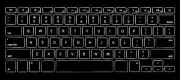 Πληκτρολόγιο υπολογιστών με το backlight Στοκ Φωτογραφίες