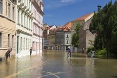 Πλημμυρίζοντας σε Meyssen, Γερμανία Στοκ Φωτογραφία